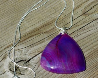 Pink Purple Dragon Vein Agate Necklace ~ Sterling Silver Chain ~ Stone Jewellery  ~ Gift for Her ~ Triangle Shaped Pendant