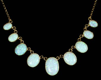 Opal Gold Graduated Necklace 22ct Of Opals