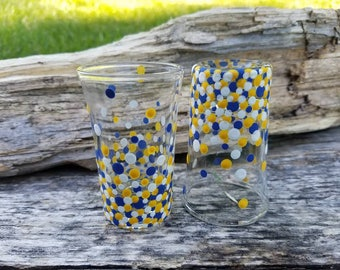 Mountaineers inspired blue and gold confetti shotglass set,  WVU inspired shotglass set, WVU Mountaineers inspired shotglass set, WV set
