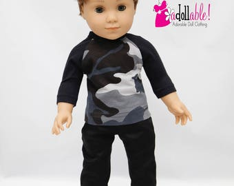 American made boy doll clothes, 18 inch Boy Doll Clothing, Camo Baseball Tee with Black Pants, made to fit like American girl doll clothes