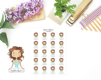 Planner Girl Becca, Yoga - Character Planner Stickers