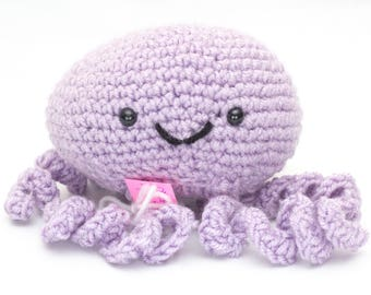 Amigurumi Stuffed Purple Jellyfish