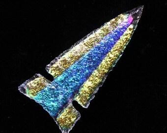 Gold and Blue Dichroic Glass Arrowhead