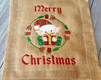 Christmas Elf garden flag - Christmas Door Hanger - Applique Christmas flag