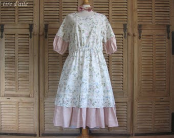 Dress romantic and shabby chic, mori, Lagenlook vintage floral Laura Ashley fabric