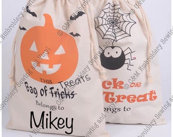Personilzed Halloween Sacks, Trick or Treat Bags