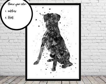 Boxer, Boxer print, boxer dog, boxer sitting, watercolor boxer, dog print, dog art, dog, Kids Room Decor, Poster, wall art, print (2487b)
