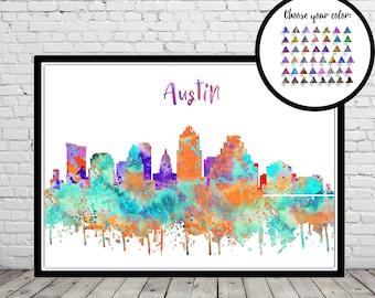 Austin, Austin Texas print, Austin skyline, Texas, Texas print, watercolor Austin, watercolor City Print, Office Art  (3592b)