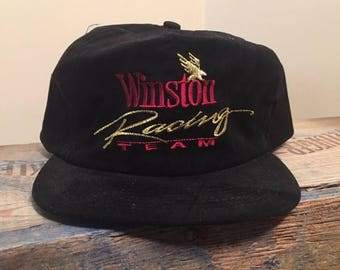 BIG SALE Winston Racing Team // black trucker hat // snap back // Nascar // Cogarettes // racing hat //