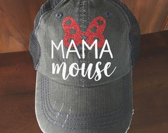 Mama Mouse distressed Trucker Hat women baseball cap disney mom disneyland park minnie mickey disney world vacation gift birthday party