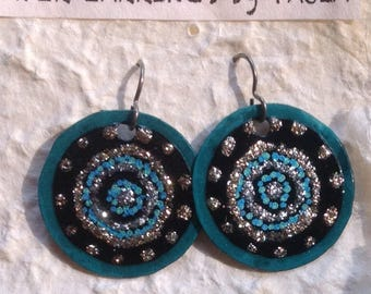 teal*turquoise*black sparkly*paper earrings