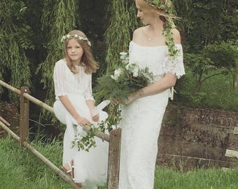 Boho/Peasant Style Wedding Dress/Hippy/Gypsy/Off The Shoulder/Bardot/Nelder Bridal Gown