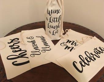 Wine bottle bag-custom gift bag-house warming gift-hostess gift-graduation gift-wine