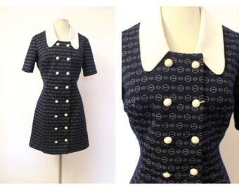 60's Crimp Navy Blue Mod Dress