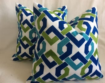 Two Modern Indoor/ Outdoor Pillow Covers - Solarium Interlock Print - Blue/ Green  - 18x18 Covers