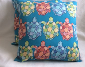 "Pair of Indoor/ Outdoor Pillow Covers - Richloom ""Turtle Bay"" Fabric - Turquoise Print  - 18x18 Covers"