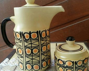 Retro Ceramic Coffee Pot and Sugar Bowl/Great kitchen Display peices
