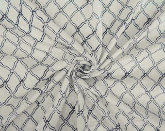 """Decorative Hand Block Printed Fabric, Quilt Material, White Fabric, Home Decoration, 45"""" Inch Cotton Fabric By The Yard ZBC8276A"""