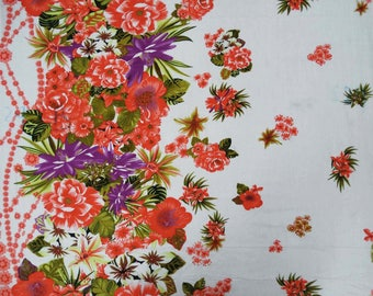 """Indian Cotton Fabric, Floral Print, White Fabric, Dress Material, Sewing Accessories, 43"""" Inch Fabric By The Yard ZBC6840A"""