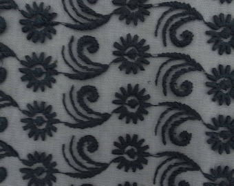 "Antique Fabric, Floral Art, Black Net Fabric, Dress Material, Crafting Fabric, 41"" Inch Fabric By The Yard ZBD213A"