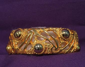 summer17 Castlecliff Oval Gold-tone Spring-hinge Bracelet with Silver Accents - CA 1950's
