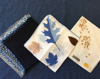Fall Wedding Hankies, LOT of 3 Vintage Autumn Blue Brown Bridesmaid Handkerchiefs Bridal Party Gifts HAND Crocheted Bridesmaids Gift
