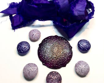 Deep Purple, Purple Silk Ribbon, Mixed Purple Beads, Assorted Jewelry
