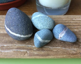 Wishing stones , stripe stones , ringed stones , Scottish beach stones , beach stones , coastal decor , beach decor