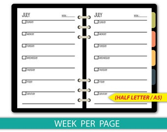 Undated 12 Months Weekly planner, Week per page, Sunday Start, Printable pages #half013