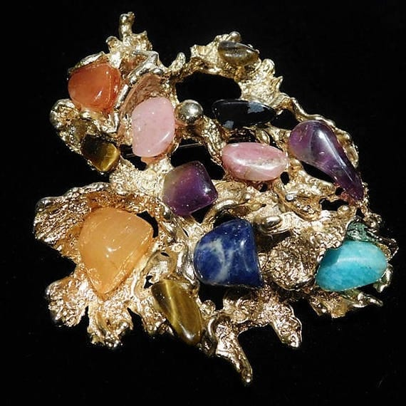 MASSIVE Modernist Gold Nugget Brooch /  Abstract Gold Nugget Pendant / Polished Gem Gemstone Brooch