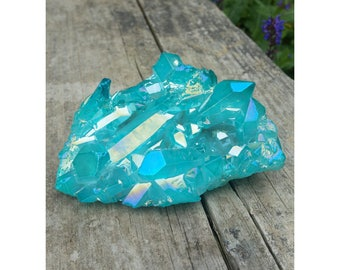 Large Aqua Blue Aura Quartz Crystal Cluster ~ FREE SHIPPING!