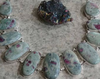 Gorgeous Ruby in Fuchsite Bib Necklace