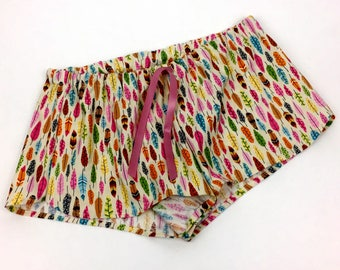Bright feather print pajama shorts, feather print lounge shorts, feather print pajama pants