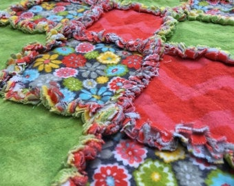 ON SALE Pink & Green Flower Baby Blanket