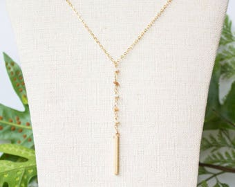 Lariat Chain Necklace, Yellow Crystal Quartz Gemstone Rosary Chain Necklace, Gold Fill, Hayley Necklace