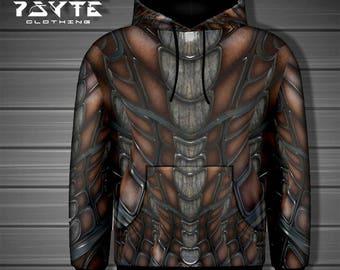 Steampunk Hoodie, Burning Man clothing, festival hoodie, Post-Apocalyptic, Armor hoodie, Zip-Up Hoodie, Cyberpunk hoodie,Futuristic hoodie