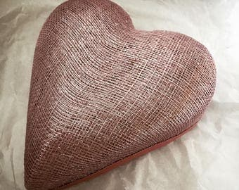 Heart shaped sinamay pillbox fascinator