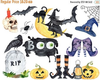 40%SALE Halloween clipart, Watercolor Halloween clip art,Witches Hat,Witches shoes,Halloween decor,Watercolor pumpkins,Trick or treat,jack o