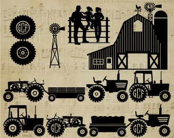 Tractor svg, Trailer svg, Barn svg, Silo svg,  Clipart, Vector, Cutting file, Pattern, png, svg,ai,eps, dxf