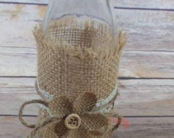 Rustic Glass Vase With Burlap