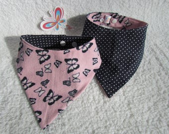 Pink bandana bib with Navy blue butterfly on bottom