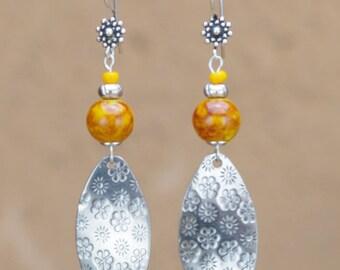 """Jana"" Orange ceramic beads earrings"