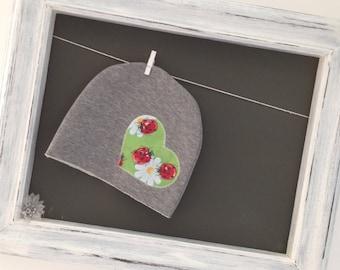 Grey Hat with fleece heart
