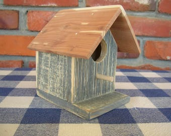 Rustic Weathered Gray Birdhouse - Decorative, Cedar - Porch, Deck, Patio, Garden