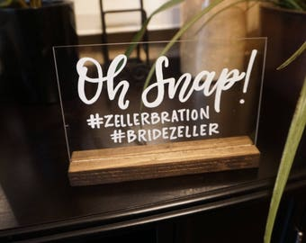 Social Media sign| Acrylic wedding signage | cocktails |  wedding calligraphy | custom plexi glass signs