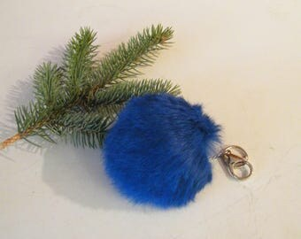 Blue fur pom, blue rabbit fur keychain, fur pom pom, purse pendant,