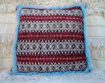 Decorative vintage Berber pillow, tribal handmade pillow cover.