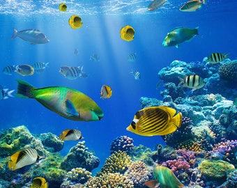 Sea Bottom Backdrop - undersea, submarine Underwater sea world, fish - Printed Fabric Photography Background w0983