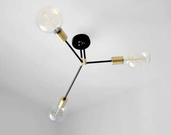 Geometric chandelier lighting 3 Arm Ceiling Flush Mount / Mount Ceiling Light Fixture - Edison Bulb