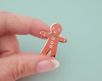 rose gold GINGERBREAD MAN hard enamel pin | Lapel pin |  pin badge | Cookie and milk |  copper | biscuit | gift for woman